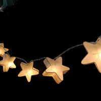 20 White Stars LANTERN Paper Handmade Fairy String Lights Party Patio Wedding Floor Table or Hanging Gift Home Decor Children Bedroom