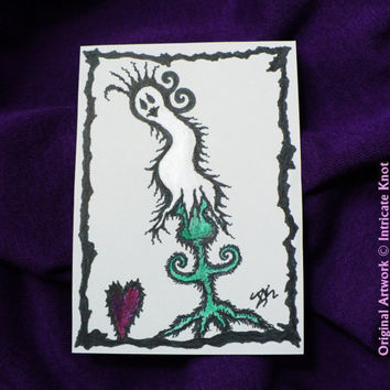 ACEO Original Art Card - Ghost Plant - Goth / Alternative - (2.5 x 3.5 inches) - Ink and Paint - IntricateKnot