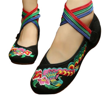 Chinese Embroidered Mary Jane Flat Ballet Cotton Loafer Black with Colorful Ankle Straps & Floral Design