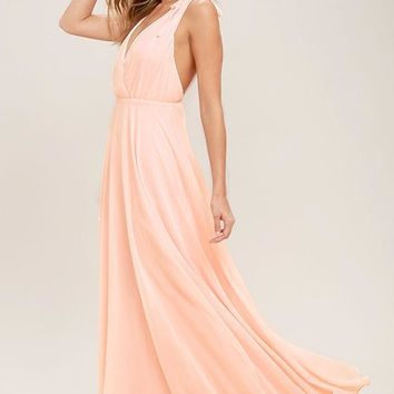 Long Chiffon Maxi Evening Dresses 2017 Open Back Sexy V Neck Blushing Women Beach Formal Evening Gow