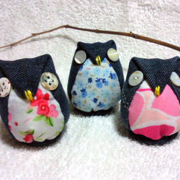 Set of 3 Handmade Cute  mini owls plushie made of jean with button eyes 100% recycled fabric eco friendly