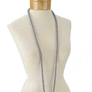 Flapper Necklaces-Silver Gray Single Strand Faux Pearl Necklace