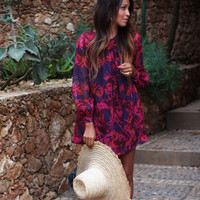 New fall trend loose round neck long-sleeved A-line print dress women