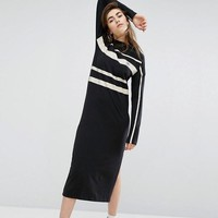 Adidas Women Fashion Casual Scoop Neck Long Sleeve Maxi Dress