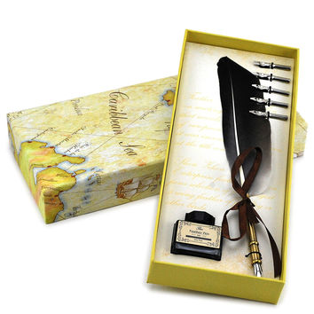 Quilling Pen, Writing Luxury Feather Pen And Quill Set (copper)
