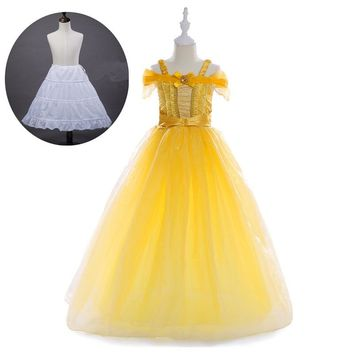 New 2017 Kids Girl Beauty and beast Halloween cosplay costume Children Belle Princess Party Dress for Christmas For 3-10yrs