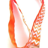 Pastel Orange Chevron Ribbon Lanyard, Key Holder, ID Holder