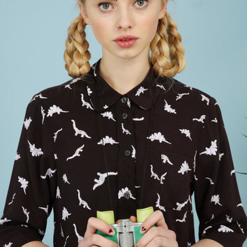 Dinosaur Crop Shirt Monochrome