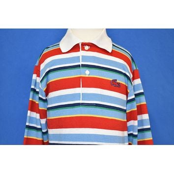 80s Izod Lacoste Striped Long Sleeve Polo Shirt Youth Small