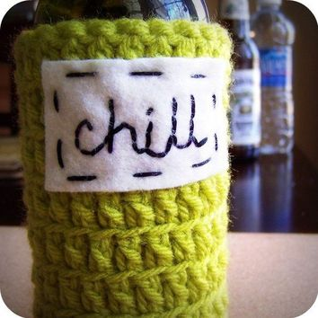 Chill beer bottle koozie handmade by KnotworkShop on Etsy