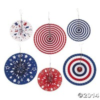 Red White Blue Hanging Paper Fans - 6 Piece Set