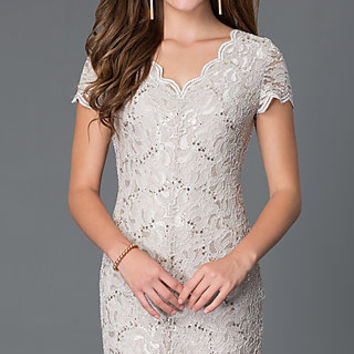 Short V-Neck Short Sleeve Lace Dress 48019i by Jump