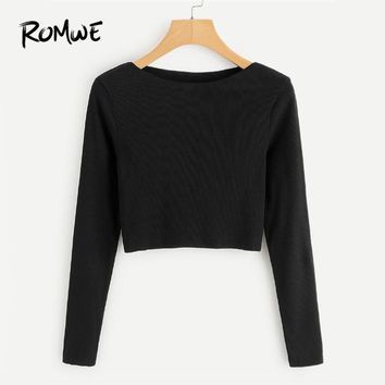 ROMWE Ribbed Knit Crop Black Tee Shirt Female Boat Neck Long Sleeve Elegant Clothing Autumn Women Top Casual Crop Plain T-Shirt