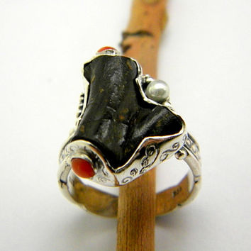 Coral sterling silver ring Black coral and small red and pearl Cocktail statement ring size 7.75