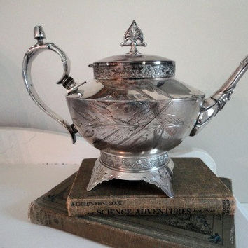 Vintage Silver Plate Teapot by hilltopcottage on Etsy