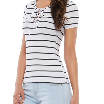 Striped Ribbed Knit Lace Up Top