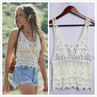 Womens Girls Hollow Crochet lace Tops Casual Boho Vest Tank Sleeveless Blouse