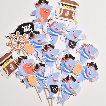 16 Shark Pirate Cake Toppers - Pirates Baby Shower Decor - Boy Cake Toppers - Baby Shower Cupcakes - Shark Pirate Cupcake - Pirate Theme
