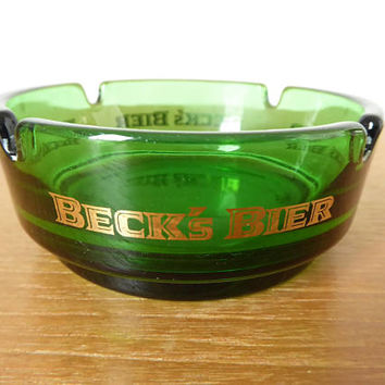 Beck's Bier green glass ashtray in excellent condition