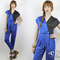 Vintage 80s Blue + Black Colorblock Jumpsuit XS S 80s Jumpsuit Blue Jumpsuit Black Jumpsuit Pleated Pants Skinny Jumpsuit