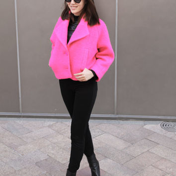 Puffy Hot Pink Cropped Jacket / Bright Pink Womens Jacket / Made to Order / Short Womens Jacket