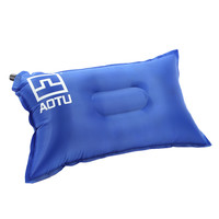 Blue Outdoor Automatic Inflatable Bed Travel Air Pillow Cushion Pad for Camping Hiking Backpacking