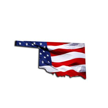 Oklahoma Waving USA American Flag. Patriotic Vinyl Sticker