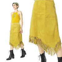 Vintage Leather Fringe Skirt (M)