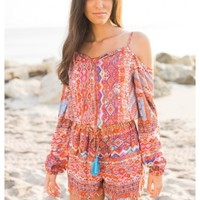 Shelton - Spaghetti strap cut out shoulder long sleeve print playsuit. Available in 2 colors.