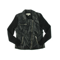 Vintage Havana Womens Lined Faux Leather Motorcycle Jacket