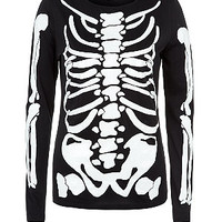 Black Skeleton Glow Long Sleeve Top