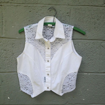 80s white lace western crop top / banjo vest / s
