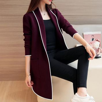 Black Notched Knitted Long Cardigan Lady Sweater Patchwork Pocket Korean Loose Coat For Women 2018 Autumn New Jacket Female