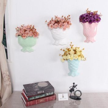 Creative Simple Hanging Vase Handmade Ceramic Flower Plant Bottle Pot Home Office Ornaments Decor