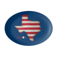Porcelain Serving Platter with Texas State in red, white and blue