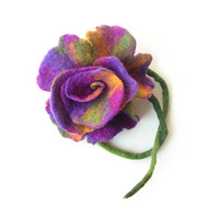 Felted brooch flower felt brooch wool brooch purple violet green flower flowers felt wool floral boho spring brooch OOAK