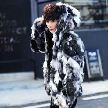 Winter male fur overcoat  Mens Fur Coats With Hood FurParka Oversized Men Fur Overcoat Warm Faux Fur Jacket Men