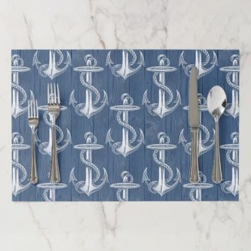 Anchor Vintage Blue Wood Beach Placemats