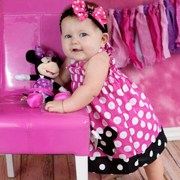 Girls Minnie Mouse Birthday Dress, Baby Girls First Birthday Dress, Pink Minnie Mouse Disney Vacation Dress