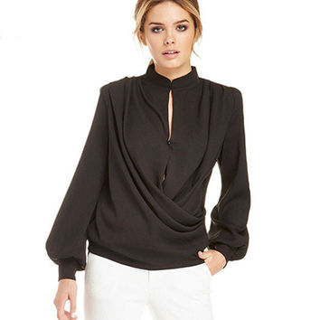 Black Mandarin Collar Lantern Sleeves Button Wrap Ruched Loose Chiffon Blouse
