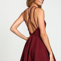 Burgundy X Back Flare Knit Dress
