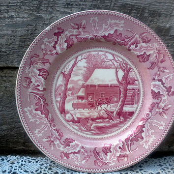 "Johnson Brothers Thanksgiving Dinner Plate, ""Turkey Frozen Up"",  Historic American Plate, Red Transferware, 10 1/2"" Charger Dinner Plate"