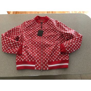 One-nice™ Louis Vuitton X Supreme Red Leather Blouson Monogram Jacket Size 60 Authentic LV