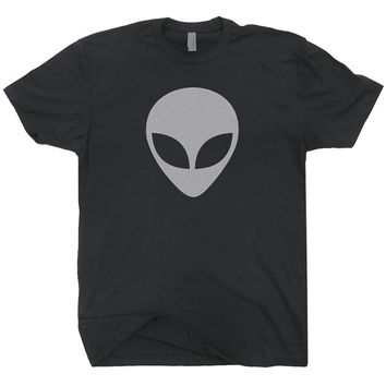 Alien Head T Shirt Cool vintage soft Aliens Shirts logo UFO Trek Believe Nasa Star Black Tee