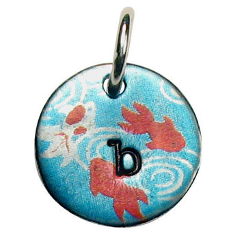 "Hand Stamped Initial Necklace with Koi Fish  - Silver Pewter - 20"" Ball Chain Included - Any Initial"