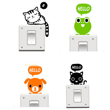 Hot Sale 1 pcs lot Cute Hello Animals Switch Stickers Wall Sticker Home Decoration for kids Bed rooms Parlor Decoration