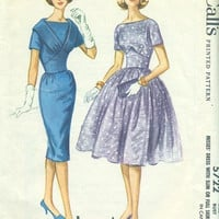 McCall's 1960 Sewing Pattern 5722 Rockabilly Style Garden Party Tea Dress Fitted Wiggle Flared Skirt Uncut FF Bust 36