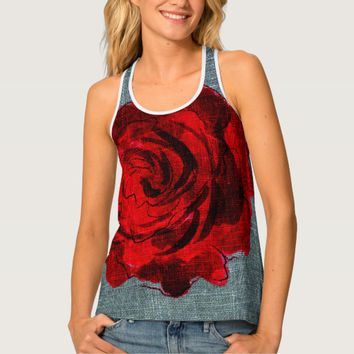 Red Rose All-Over Print Racerback Tank Top