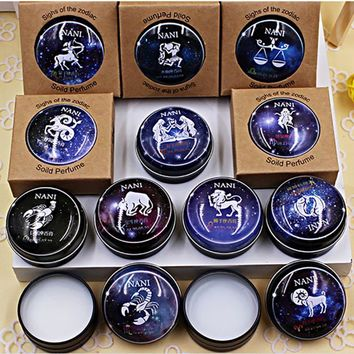 1 Pcs 12 Constellation Zodiac Perfumes Women Men Magic Solid Perfume Deodorant Solid Fragrance
