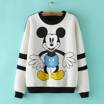 Block Mickey Mouse Print Sweater